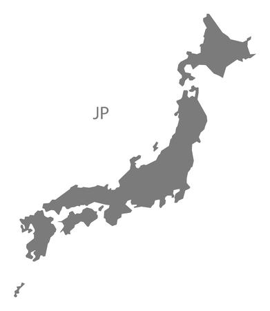 Japan map gray Vettoriali