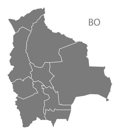 mapa de bolivia: Mapa de Bolivia en gris