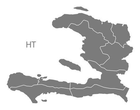 Haiti map in gray 矢量图像