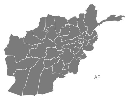 counties: Afghanistan map in gray