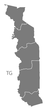 togo: Togo map in gray