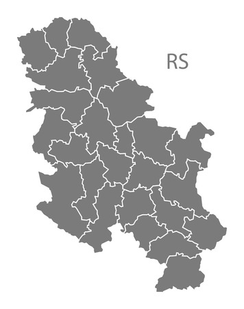 serbia: Serbia map in gray