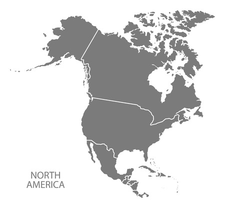 north america: North America continent map in gray Illustration