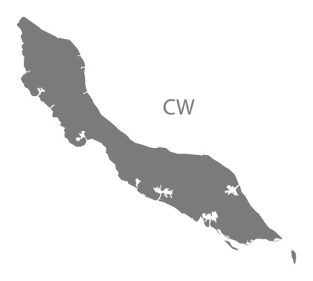 curacao: Curacao map in gray