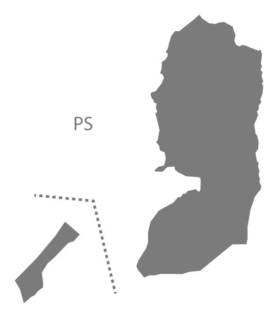 palestine: Palestine map in gray