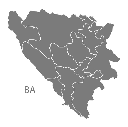bosnia and hercegovina: Bosnia Hercegovina map in gray