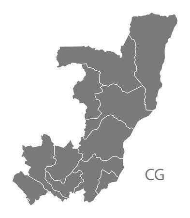 congo: Congo Republic map in gray Illustration