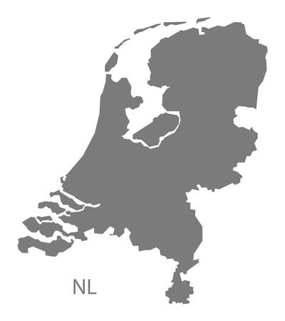灰色のオランダ地図  イラスト・ベクター素材