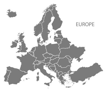 灰色でヨーロッパ大陸の地図