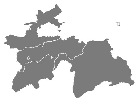 tajikistan: Tajikistan map in gray Illustration