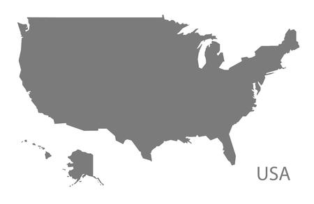 灰色でアメリカ地図