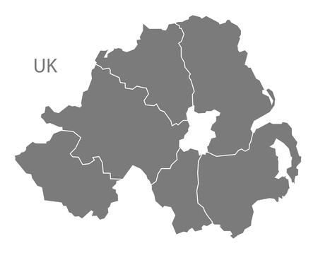 Northern Ireland map in gray Vettoriali