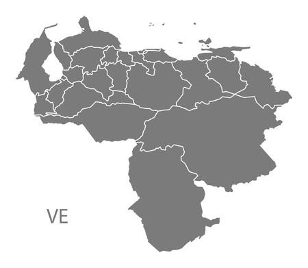 mapa de venezuela: Mapa de Venezuela en gris Vectores