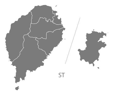 principe: Santo Tomé y Príncipe mapa en color gris