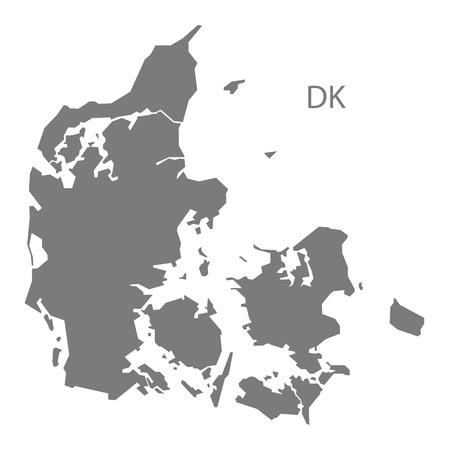 灰色でデンマーク マップ  イラスト・ベクター素材