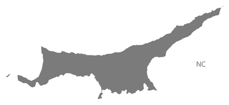 northern: Northern Cyprus map in gray Illustration