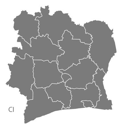coast: Ivory Coast map in gray