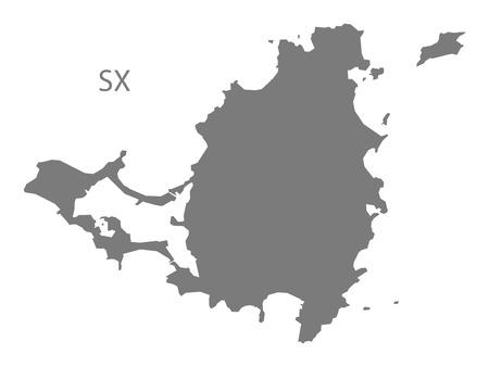 martin: Saint Martin map in gray