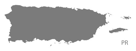 Puerto Rico map in gray Ilustrace