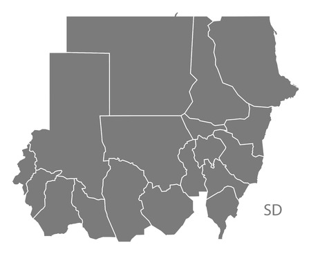 Sudan: Sudan map in gray Illustration