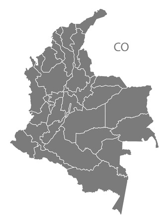 counties: Colombia map in gray Illustration