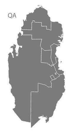 municipalities: Qatar map in gray