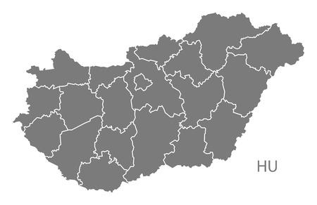 灰色でハンガリー地図