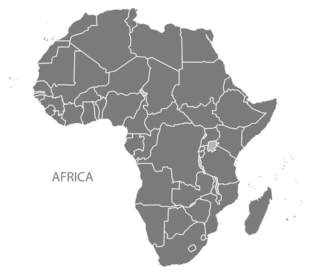 Africa continent map in gray Illustration