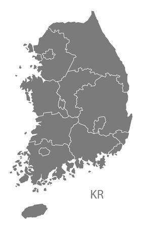 Mapa de Corea del Sur en gris