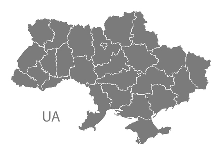 ukraine: Ukraine map in gray