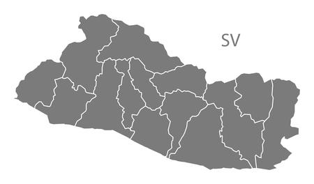 mapa de el salvador: Mapa de El Salvador en gris Vectores