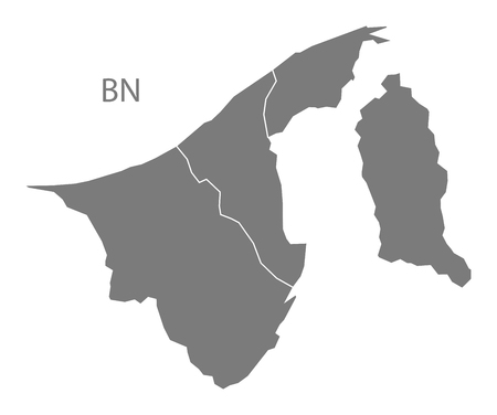 map of brunei: Brunei map in gray