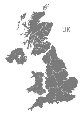 灰色でイギリス マップ  イラスト・ベクター素材