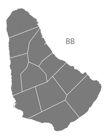 barbados: Barbados map in gray Illustration