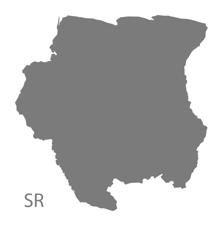 suriname: Suriname map in gray