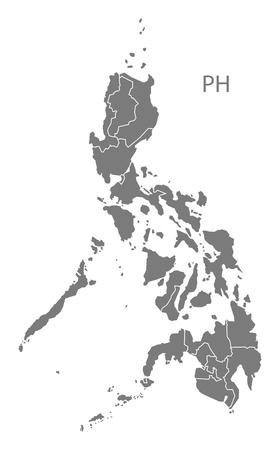灰色でフィリピン地図  イラスト・ベクター素材