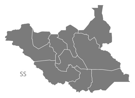 south sudan: South Sudan map in gray Illustration