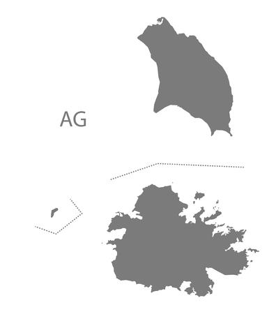 antigua and barbuda: Antigua and Barbuda map in gray