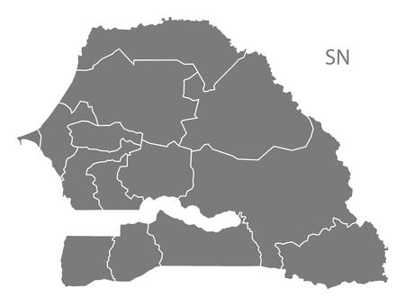 senegal: Senegal map in gray