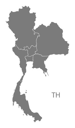 Thailand map in gray Ilustrace