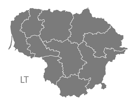 lithuania: Lithuania map in gray