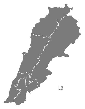 lebanon: Lebanon map in gray Illustration