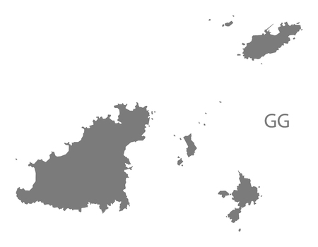 guernsey: Guernsey map in gray Illustration