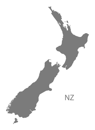 New Zealand map in gray