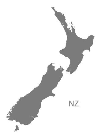 Mapa de Nueva Zelanda en gris