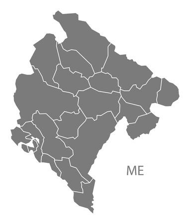 montenegro: Montenegro map in gray Illustration