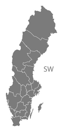 sweden map: Sweden map in gray Illustration