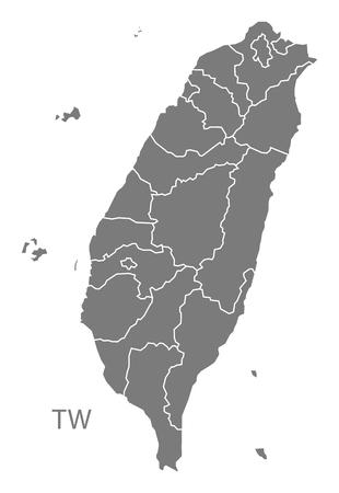 灰色で台湾地図  イラスト・ベクター素材