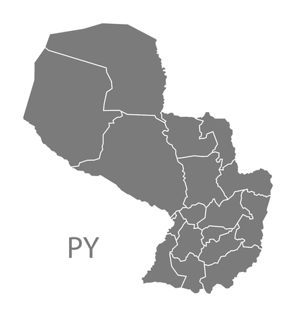 counties: Paraguay map in gray Illustration
