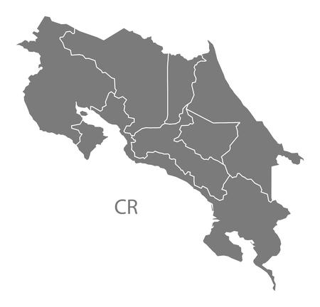 costa rica: Costa Rica map in gray Illustration